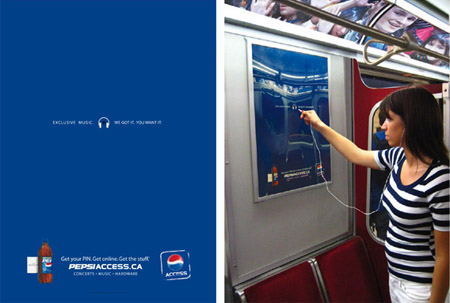 Pepsi Access poster with MP3 Player