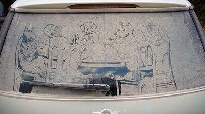 Dirty Car Window with Artwork