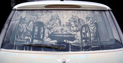 Dirty Car Window with Dogs Playing Poker