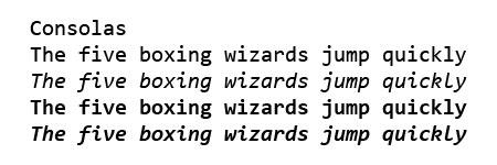 Consolas font sample