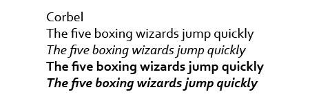 Corbel font sample