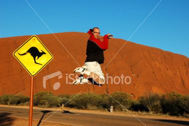 Jumping at Uluru