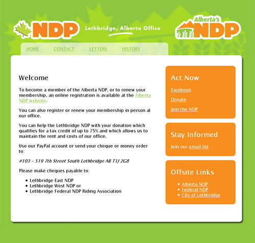 Lethbridge NDP website screen shot