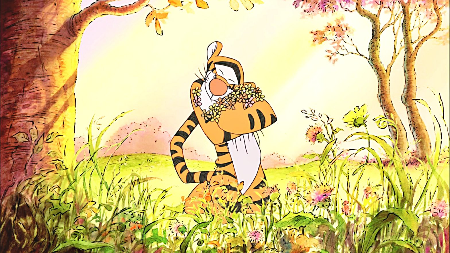 Tigger hugging flowers