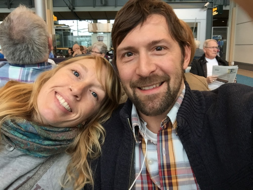Selfie of Andrea and Jeff at the Vancouver Airport