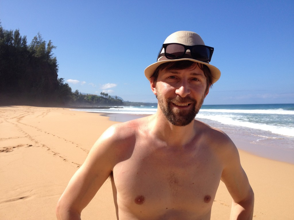 A closeup of Jeff standing on a beach in Hawaii