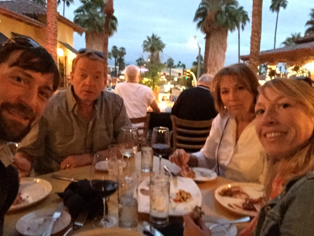 Jeff, Andrea, and her parents enjoy dinner in down-town Palm Springs.