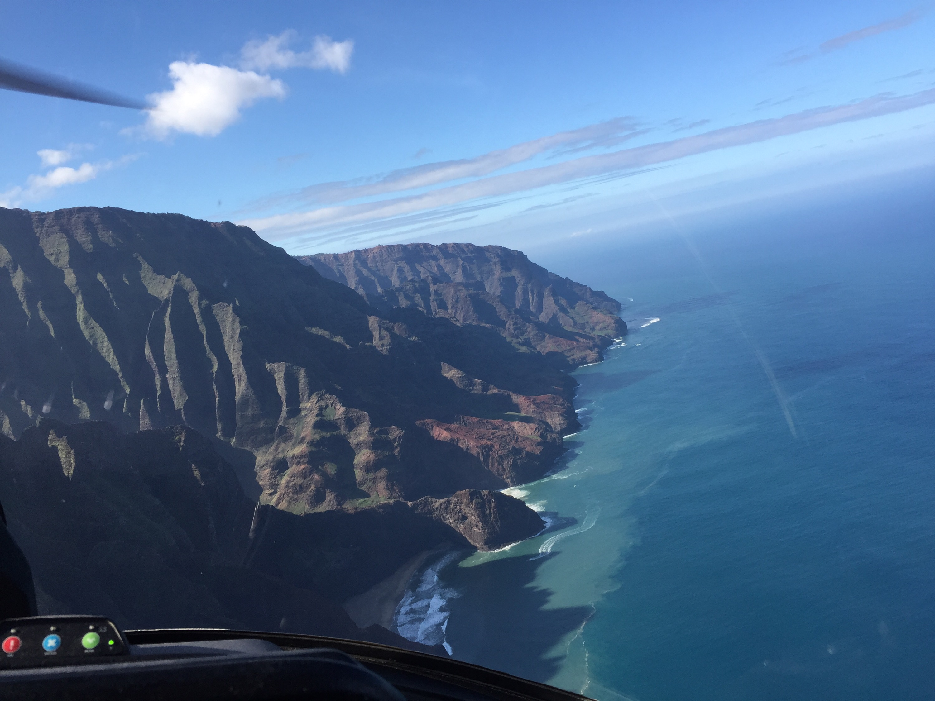 Aerial shot of the mountains and coastline