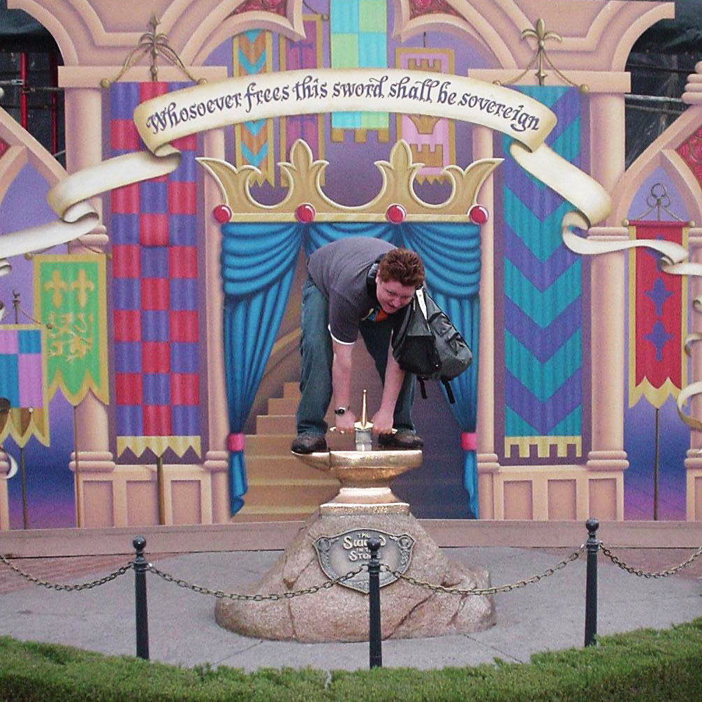 A failed attempt at pulling the sword from the stone.
